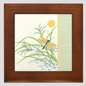 Dragonfly in Rice Field Framed Tile