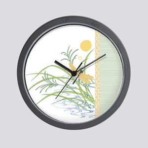 Dragonfly in Rice Field Wall Clock