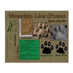 Mountain Lion Puma Tracks Throw Blanket