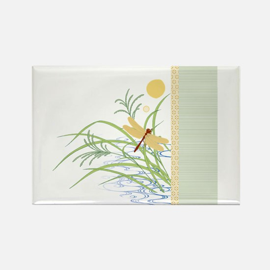 Dragonfly in Rice Field Rectangle Magnet
