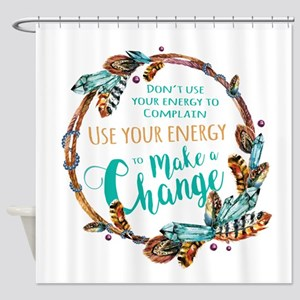 Make a Change Wreath Shower Curtain