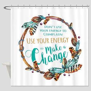 Make A Change Wreath Shower Curtain