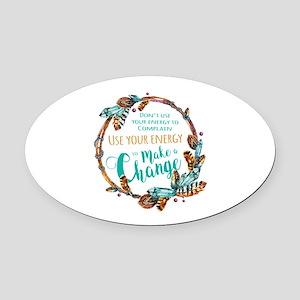 Make a Change Wreath Oval Car Magnet