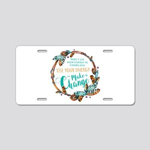 Make a Change Wreath Aluminum License Plate
