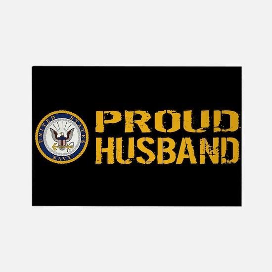 U.S. Navy: Proud Husband (Black) Rectangle Magnet