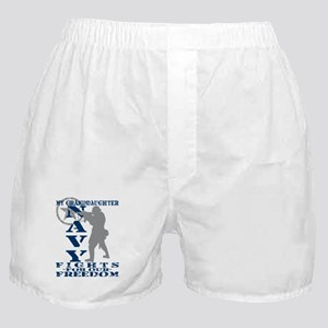 Grnddghtr Fights Freedom - NAVY Boxer Shorts