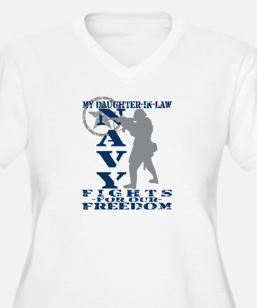 Dghtr-n-Law Fights Freedom - NAVY T-Shirt