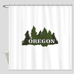 Oregon Trees Logo Shower Curtain