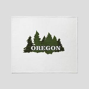 oregon trees logo Throw Blanket