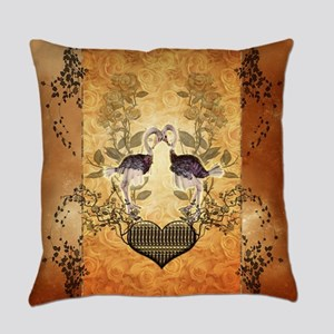 Cute ostrich couple with heart Everyday Pillow