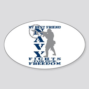 Best Friend Fights Freedom - NAVY Oval Sticker