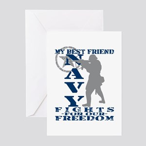 Best Friend Fights Freedom - NAVY Greeting Cards (