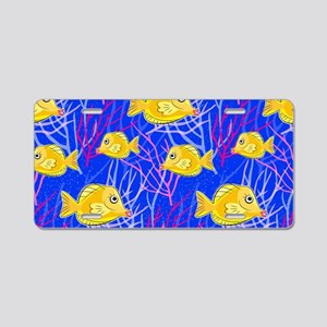 Yellow Tang in Pink Coral Aluminum License Plate