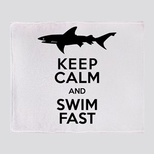 Sharks! Keep Calm and Swim Fast Throw Blanket