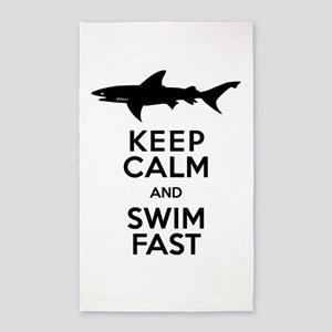 Sharks! Keep Calm and Swim Fast 3'x5' Area Rug
