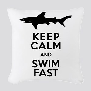 Sharks! Keep Calm and Swim Fast Woven Throw Pillow