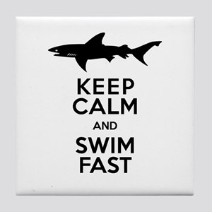 Sharks! Keep Calm and Swim Fast Tile Coaster