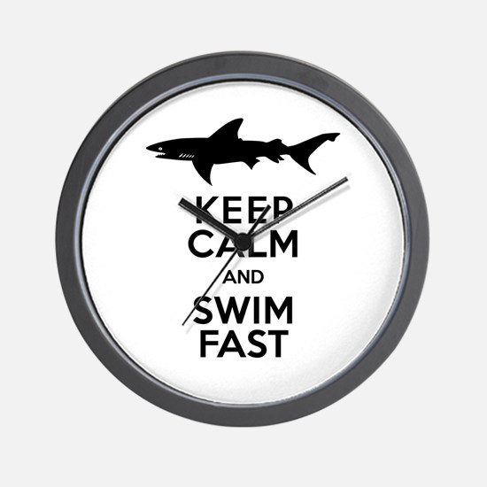 Sharks! Keep Calm and Swim Fast Wall Clock