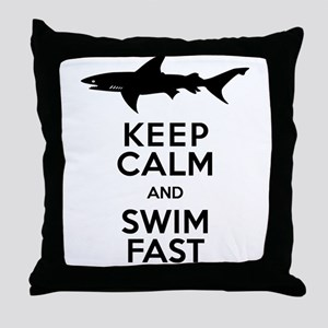 Sharks! Keep Calm and Swim Fast Throw Pillow