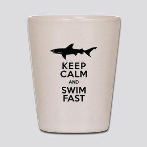 Sharks! Keep Calm and Swim Fast Shot Glass