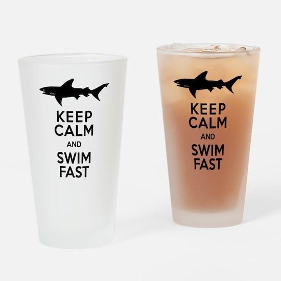 Sharks! Keep Calm and Swim Fast Drinking Glass