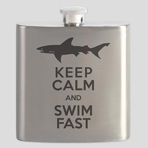 Sharks! Keep Calm and Swim Fast Flask