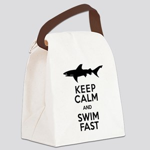 Sharks! Keep Calm and Swim Fast Canvas Lunch Bag