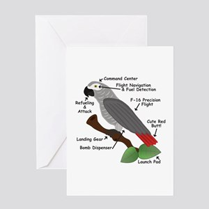 Anatomy of an African Grey Parrot Greeting Cards
