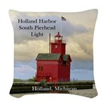 Holland Harbor South Pierhad Woven Throw Pillow