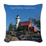 Eagle Harbor Lighthouse Woven Throw Pillow