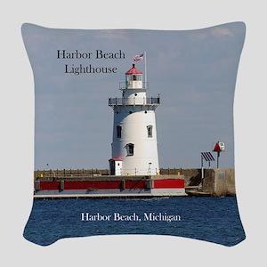 Harbor Beach Lighthouse Woven Throw Pillow