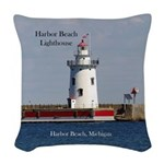 Harbor Beach Lighthouse Woven Throw Pillow