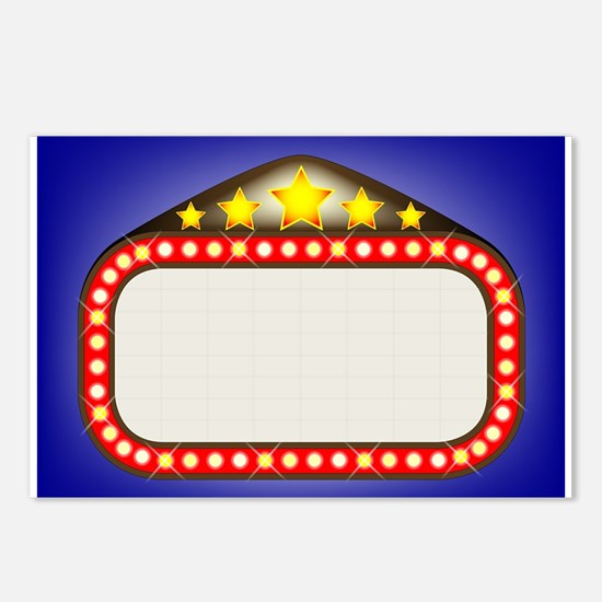 Movie Theatre Marquee Postcards (Package of 8)