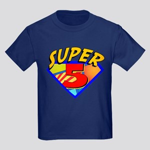 Superhero 5 Birthday Kids Dark T-Shirt