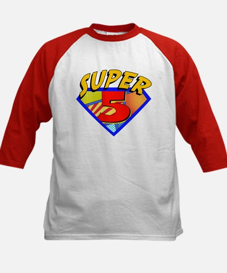 Superhero 5 Birthday Kids Baseball Jersey