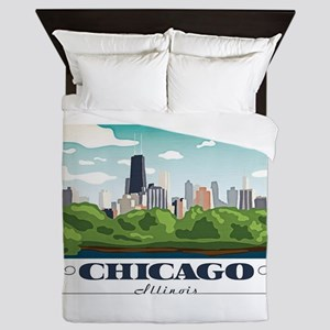 Chicago, Illinois Queen Duvet