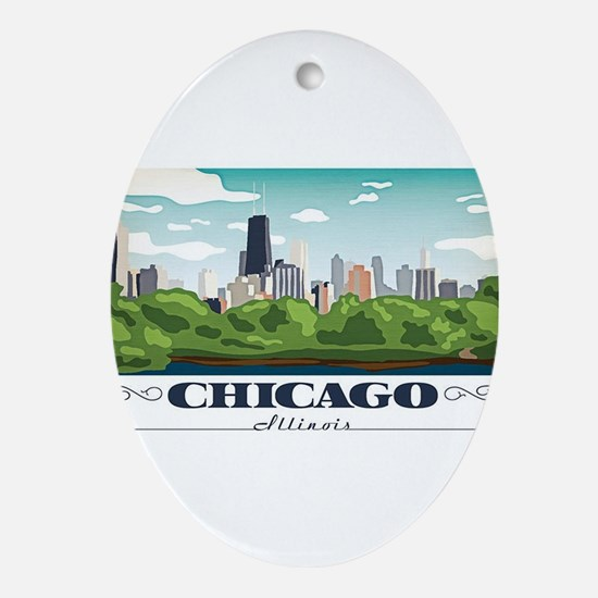 Chicago, Illinois Oval Ornament