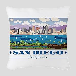 San Diego Skyline Woven Throw Pillow
