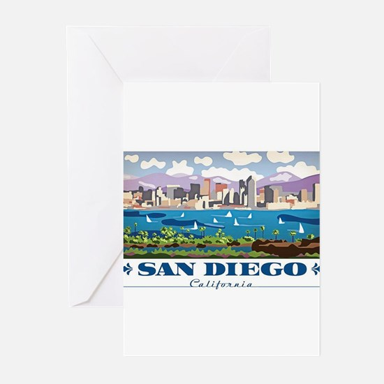 San Diego Skyline Greeting Cards