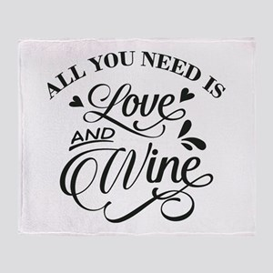 love and wine Throw Blanket