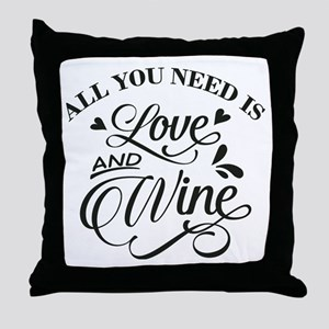 love and wine Throw Pillow