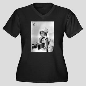 Shirley Temp Women's Plus Size V-Neck Dark T-Shirt
