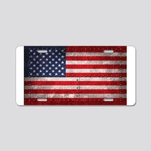 Riveting American Flag Aluminum License Plate