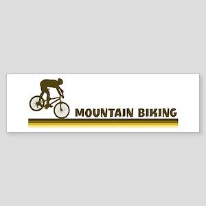Retro Mountain Biking Bumper Sticker