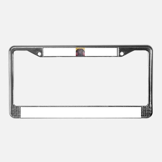 Chocolate Lab Dog License Plate Frame