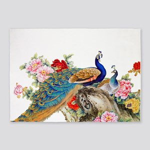 Traditional Chinese Peacocks 5'x7'Area Rug