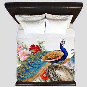Traditional Chinese Peacocks King Duvet
