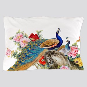 Traditional Chinese Peacocks Pillow Case