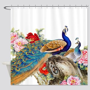 Traditional Chinese Peacocks Shower Curtain