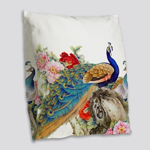 Traditional Chinese Peacocks Burlap Throw Pillow